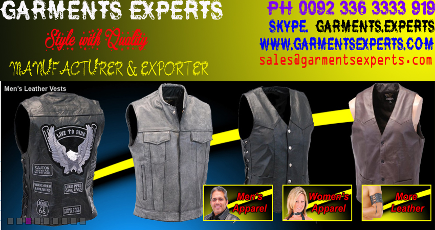 LEATHER VEST , LEATHER WEARS , LEATHER GARMENTS , GARMENTS EXPERTS